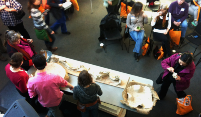 Clay demonstration and hands on opportunity in the foyer at the Shadbolt Centre for the Arts.