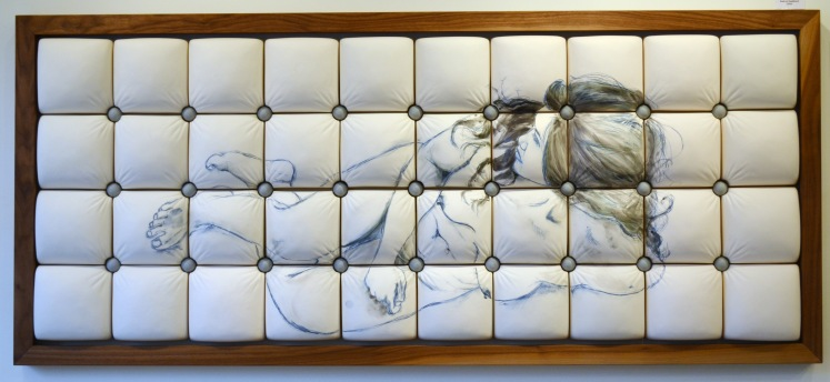 Ceramic tufted headboard with drawing of female form